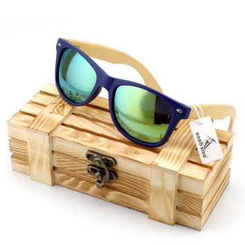 BOBO BIRD New Women Fashion Coated Polarized Bamboo Wood Holder Sun Glasses With Retail Wood Case Cool Beach Sunglasses