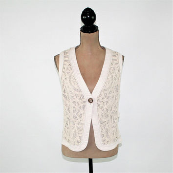 Ecru Beige Vest Women Boho Vest 2X Lace Vest Linen Cotton Size 18 Coldwater Creek Plus Size Clothing Womens Clothing