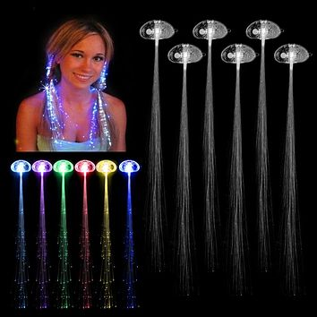 6 Pcs  Creative LED Fiber Optic Light Fake Hair Braid Halloween Christmas Costume Party Fancy Ball Headwear Decoration