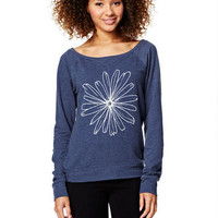 Navy Pullover with Daisy Sketch