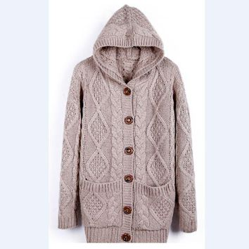 DCCKHQ6 Women'S Loose Pocket Knitted Hooded Sweater Coat