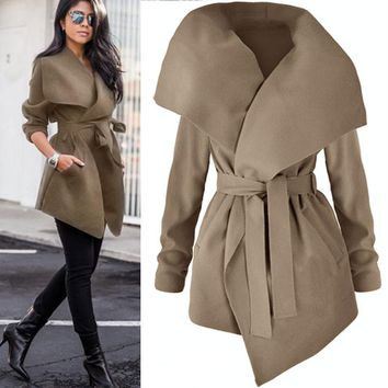 2017 Autumn Winter women's elegant Trench Coat long Outerwear loose clothes for lady good quality trench female coat windbreaker