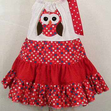 Girls Red Dot Tiered Owl Boutique Dress--#276--