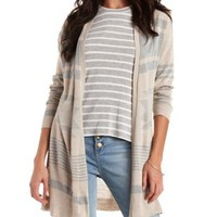 Light Taupe Combo Open Aztec Cardigan Sweater by Charlotte Russe