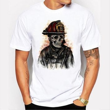 Fashion casual men 's T - shirt personality skull printed round neck short - sleeved white tops
