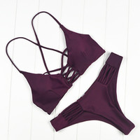 2017 Brazilian Criss Dark Purple Cross Bikini Thong Swimsuit