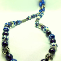 Blue and White Glass Bead Necklace with Silver Metal Accents