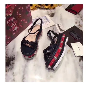 GUCCI Women Trending Fashion pearls Bow Casual Sneakers Sports Shoes Black