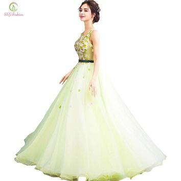 New Light Green Lace Flower Evening Dress The Princess Fairy Fresh Sweet Beading Sleeveless Long Prom Party Gown