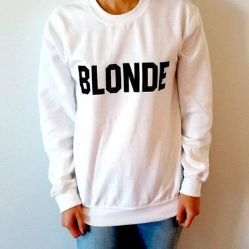 Aesthetic Casual Cotton Sweatshirt BLONDE Funny Letter Hooded Style Clothing Girl Jumper Graphic Tumblr Outfits S-2XL Drop Ship