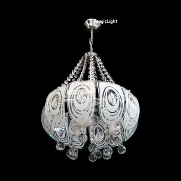 "D16"" 3 Light Unique Rain Drop Crystal & Glass Ceiling Pendant Lamp Chandelier"