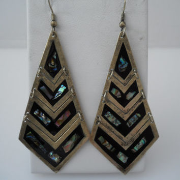 Mexico Abalone Inlay 4 Tier Triangle Earrings Large Alpaca Silver Articulating Earrings