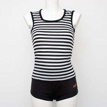 Black and white striped sleeves tank NOS vintage size S / XS