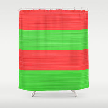 Brush Stroke Stripes: Red and Green Shower Curtain by Kat Mun