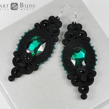 Black and emerald soutache, Soutache earrings, orecchini soutache, soutache bilateral, boucles d'oreilles soutache, turquoise soutache