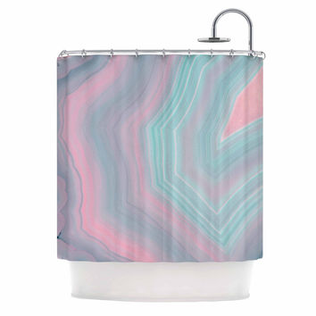"""Cafelab """"Sweet Pastel Agate"""" Pink Blue Shower Curtain"""