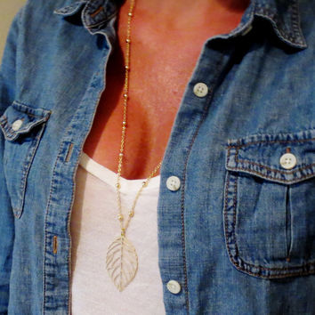 Long Gold Leaf Necklace, Beaded Chain Layering Jewelry, Layered Necklace