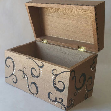 Recipe box, wooden recipe box, hand painted box, keepsake box,wood box, Mother's day gift, family recipes, wood box, scroll design box, gold
