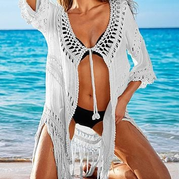 Sexy Women Perspective Brazilian Bikini Cover Up Swimsuit Swimwear Beach Openwork Crochet Bathing Suit #EW