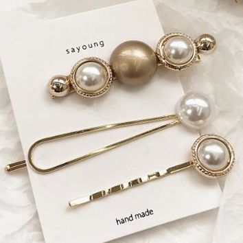 Hot Sale Girls Women Cute Pearl Hairpin Set Edge Clip Accessories