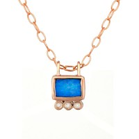 Opal Square and Diamond Trio Necklace