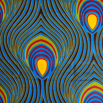 Blue  Yellow Red abstract African fabric/ AfricanTextiel by the Yard from African Fabric Shop/ Ankara fabric/ African Supplies / peacock