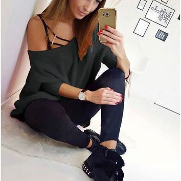 Women Fashion Solid Strapless Loose Knitwear Top Sweater