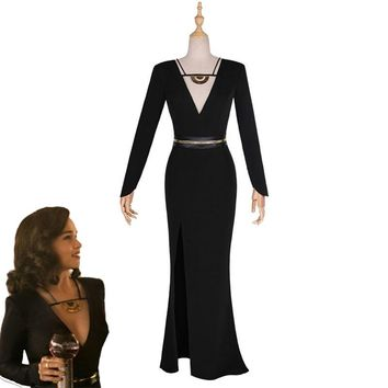Movie Solo:A Star Wars Story Qi'ra Cosplay Costume Emilia Clarke Black Deep V Evening Dress Sexy Backless Full Dress Custom Made