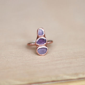 Raw Amethyst Ring Raw Crystal Ring Raw Stone Ring Rough Gemstone Ring Birthstone Ring Statement Ring Cocktail Ring Raw Mineral RIng Size 7.5