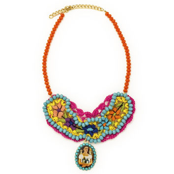Embroidered Bib Necklace with Frida Kahlo Pendant