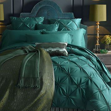 Cool Green Imitated Silk Cotton Bedding Set Luxury 4/6Pce Handwork Pinch Pleat Bed Set King Queen Duvet Cover Bed Sheet Pillow casesAT_93_12