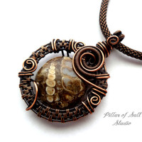 Wire wrapped pendant, Wire Wrapped jewelry handmade, Turritella agate, copper jewelry, wire jewelry, earthy jewelry, woven wire pendant