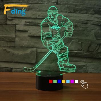 Christmas Gifts nhl Lamp 3D Night Light Ice Hockey Athlete USB Led Desk Table Lampara Home Decor Bedroom Reading Light Kids Toys