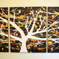 """View: triptych 3 panel wall art colorful images """"The White Tree"""" 3 panel canvas wall abstract canvas pop abstraction 48 x 20 """" other sizes available 