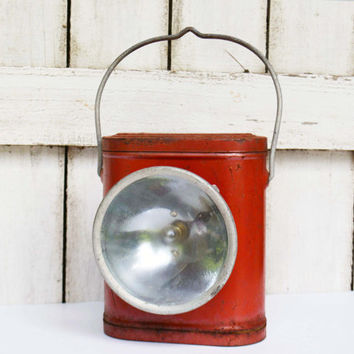 Vintage Metal Flashlight,  Canister Type Battery Operated Lantern, Outside Lighting