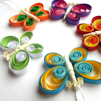 Quilled Home Decor - Butterfly Ornament - Butterfly Decor - Butterfly Home Decor  - Party favor  - Paper Quilling - ,  set of 5 pieces