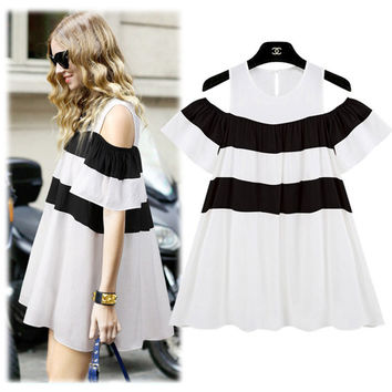 Black and White Striped Cut-Out Cape Sleeve Pleated Skater Mini Dress