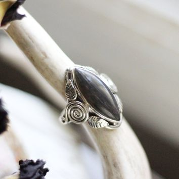 Size 7.5; Natural Black Sunstone Ring
