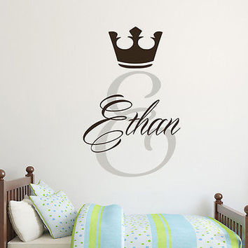 Crown Wall Decals Personalized Name Decal Monogram Boy Nursery Kids Decor DS387