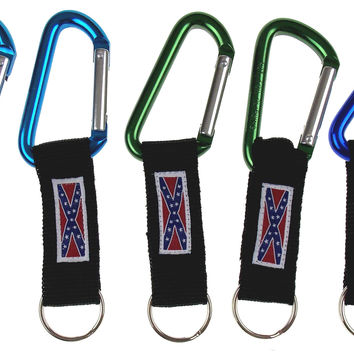 Rebel Confederate Flag Carabiner Key Chain Lot 5 Blue Green