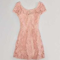 NWT AMERICAN EAGLE WOMENS 0 2 4 8 12 PINK FLORAL ALL LACE SHORT SLEEVE DRESS NEW