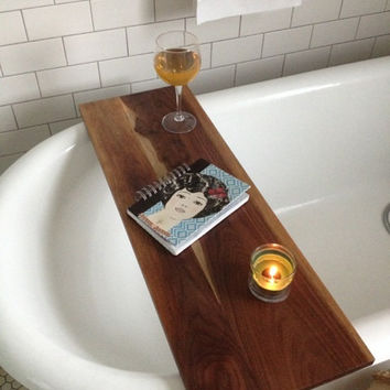 Tub Caddy Walnut Wood Bathtub Tray from KennedyWoodworking on