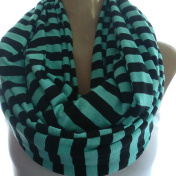 Turquoise green and black  stripe infinity scarf,Super wide cowl, Necklace scarf withTurquoise and black stripes-Tube version