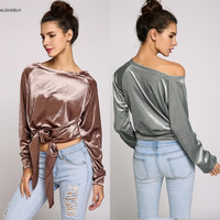 Women Fashion Boat Neck Sexy female T-shirt Tops Long Sleeve Lace Nylon Sexy Tees Tops Solid Pullover Novelty  Velvet Tops