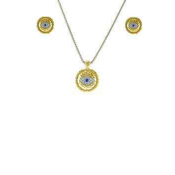Hammered Gold Pendant Crystal Evil Eye Accent Necklace & Earring Set