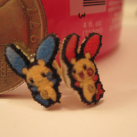 Plusle and Minun Post Earrings