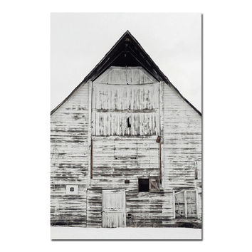 White Barn Photograph, Rustic Wall Art, Landscape Photography, Farm Decor | 'Peaked'