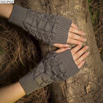 Pretty Stylish Gloves Women Female Stretch Knit Gloves Hot Winter Warm Arm Crochet Knitting warm Fingerless Gloves G5
