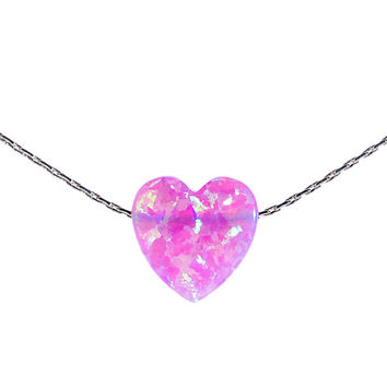 Pink heart opal necklace