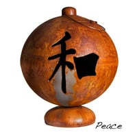 "41"" Peace, Happiness, Tranquility Asian Inspired Fire Pit Globe"